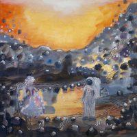 Come hither, my dear Augustin. Oil, acrylic & ink on canvas, 50x50 cm, 2015. (InCafé Bar No 9's collection).