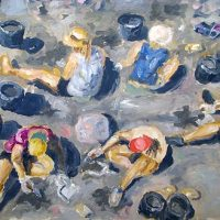 Hellepäivä kaivauksilla // Hot day on the excavation, oil on hardboard, 72x52 cm, 2009. (SOLD)