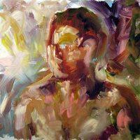 Ihmisen kaltainen I // Humanlike I, oil on hardboard, 2009.