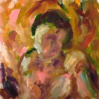 Ihmisen kaltainen II // Humanlike II, oil on hardboard, 2009.