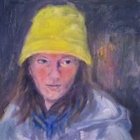 Juhannustyttö // Midsummer girl, oil on mdf, 46,5 x 46,5 cm, 2010.