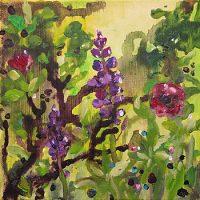 Siellä jossain (puutarhan perällä) I, akrylics on canvas, 20x20 cm, 2011.