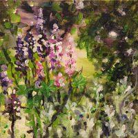 Siellä jossain (puutarhan perällä) II, akrylics on canvas, 20x20 cm, 2011.