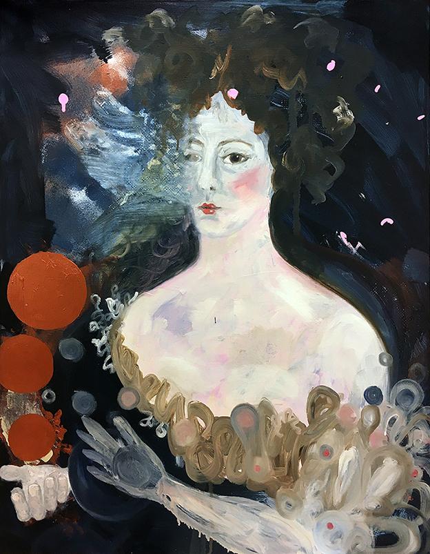 La Jongleuse (2019), oil & acrylic on canvas, 90x70 cm.